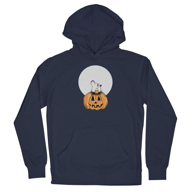 Halloween mouse in ghost costume. Men's Pullover Hoody by Make a statement, laugh, enjoy.