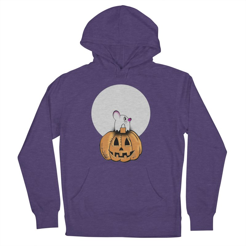 Halloween mouse in ghost costume. Women's French Terry Pullover Hoody by Make a statement, laugh, enjoy.