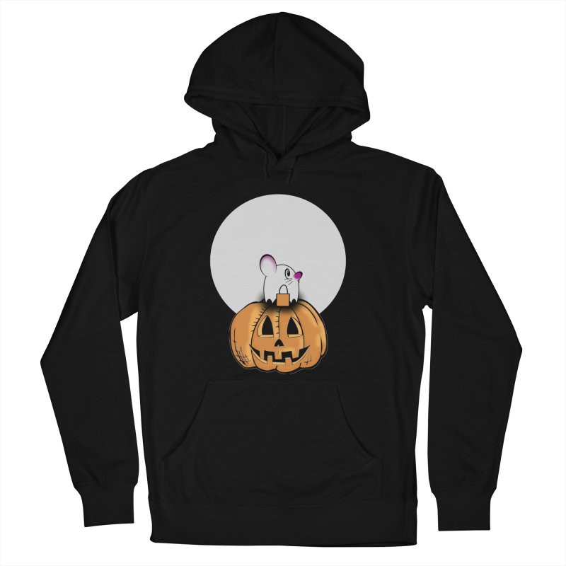 Halloween mouse in ghost costume. Men's French Terry Pullover Hoody by Make a statement, laugh, enjoy.