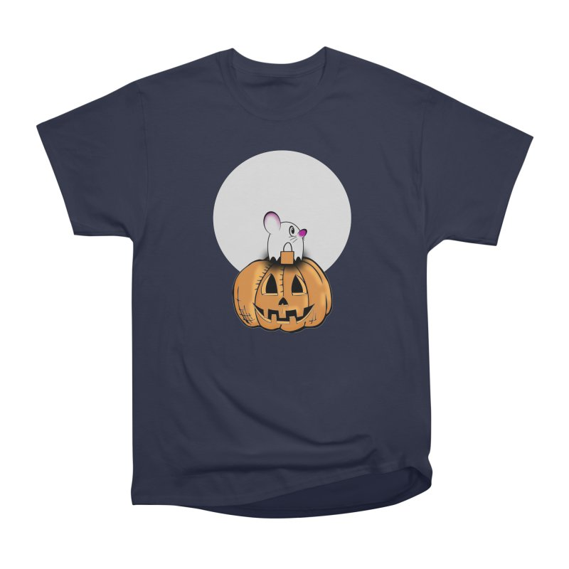 Halloween mouse in ghost costume. Women's Heavyweight Unisex T-Shirt by Make a statement, laugh, enjoy.