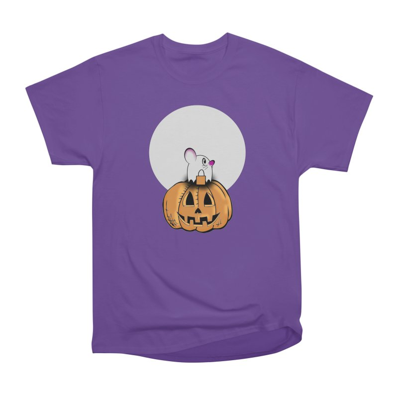 Halloween mouse in ghost costume. Men's Heavyweight T-Shirt by Sporkshirts's tshirt gamer movie and design shop.