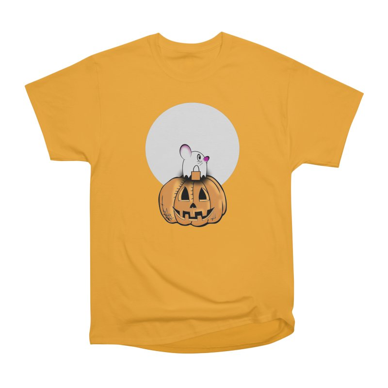 Halloween mouse in ghost costume. Men's Heavyweight T-Shirt by Make a statement, laugh, enjoy.