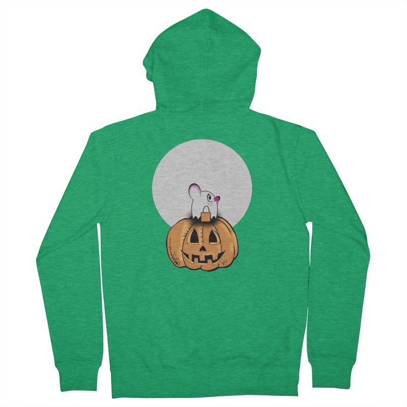 Halloween mouse in ghost costume. Women's Zip-Up Hoody by Make a statement, laugh, enjoy.