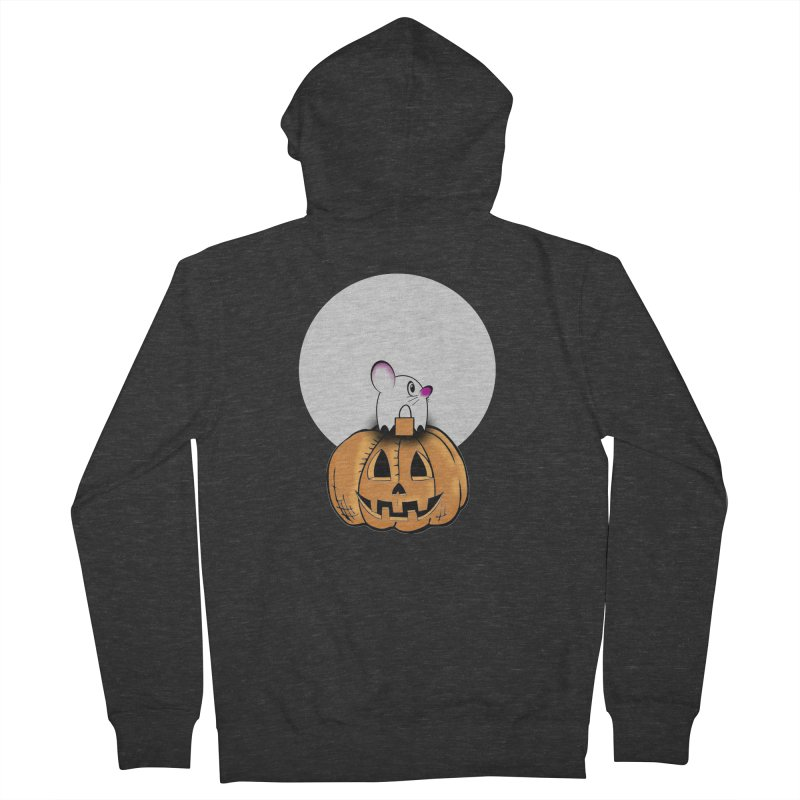 Halloween mouse in ghost costume. Women's French Terry Zip-Up Hoody by Make a statement, laugh, enjoy.