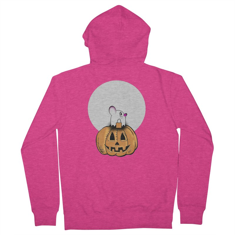 Halloween mouse in ghost costume. Women's French Terry Zip-Up Hoody by Sporkshirts's tshirt gamer movie and design shop.