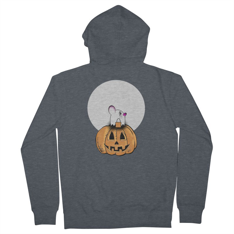 Halloween mouse in ghost costume. Men's French Terry Zip-Up Hoody by Sporkshirts's tshirt gamer movie and design shop.