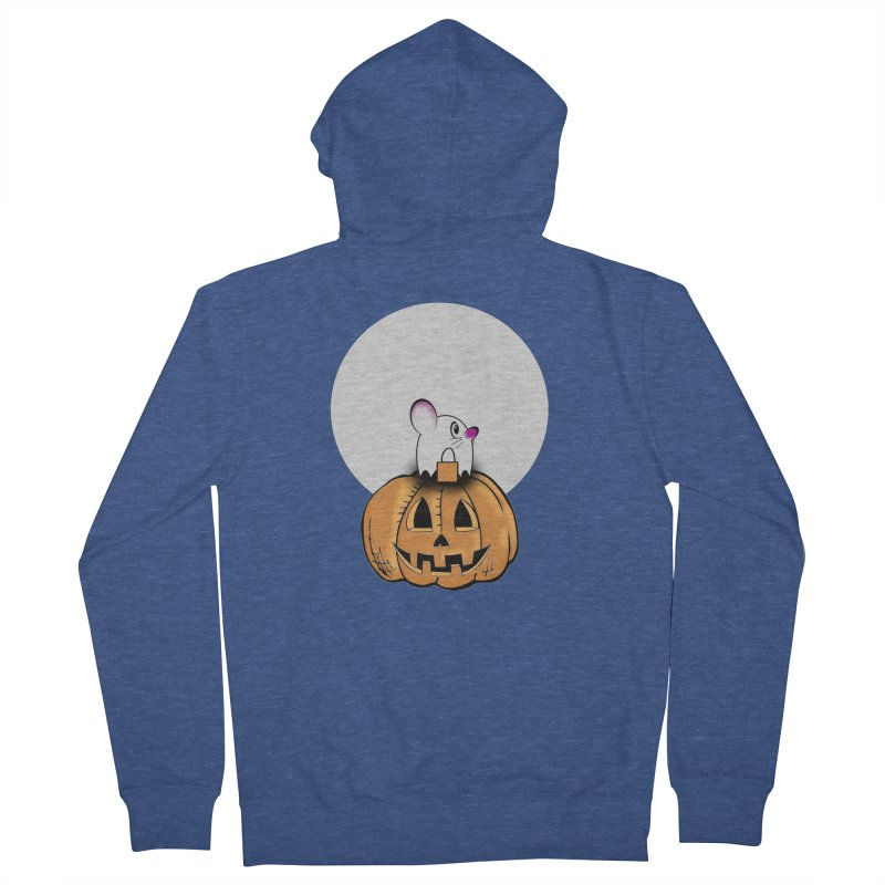 Halloween mouse in ghost costume. Men's French Terry Zip-Up Hoody by Make a statement, laugh, enjoy.