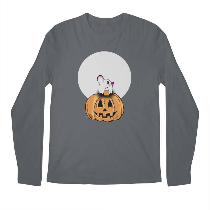 Halloween mouse in ghost costume. Men's Longsleeve T-Shirt by Make a statement, laugh, enjoy.