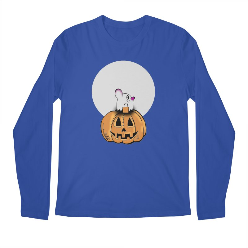 Halloween mouse in ghost costume. Men's Regular Longsleeve T-Shirt by Sporkshirts's tshirt gamer movie and design shop.