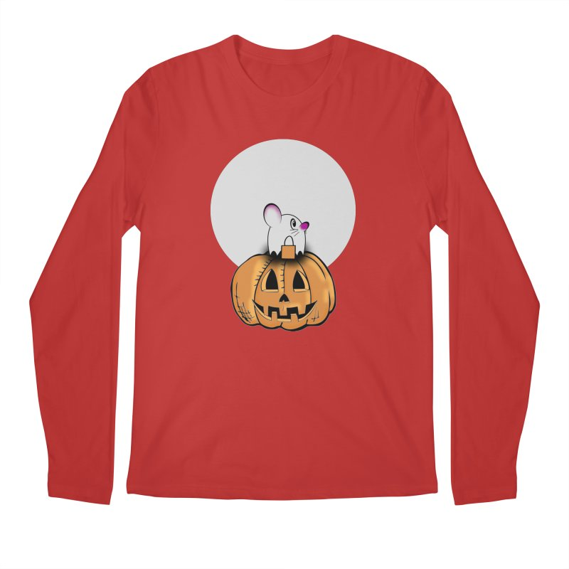 Halloween mouse in ghost costume. Men's Regular Longsleeve T-Shirt by Make a statement, laugh, enjoy.