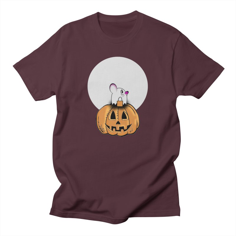 Halloween mouse in ghost costume. Women's Regular Unisex T-Shirt by Make a statement, laugh, enjoy.