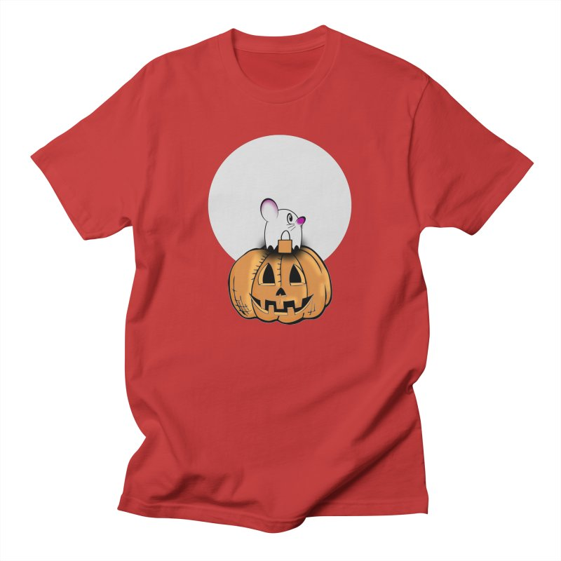 Halloween mouse in ghost costume. Women's Regular Unisex T-Shirt by Sporkshirts's tshirt gamer movie and design shop.