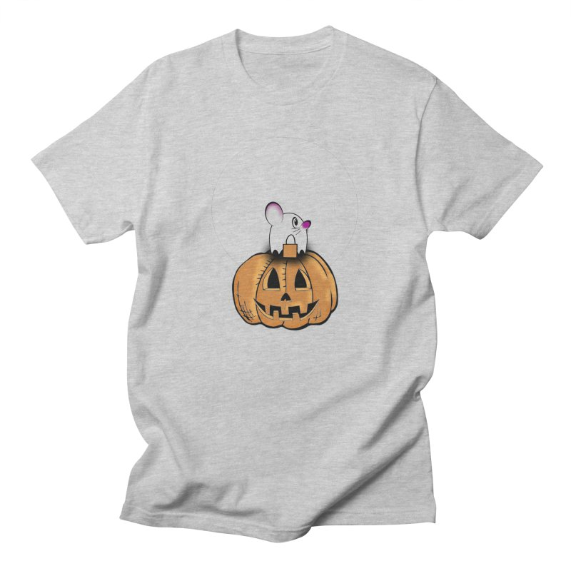 Halloween mouse in ghost costume. Men's Regular T-Shirt by Make a statement, laugh, enjoy.