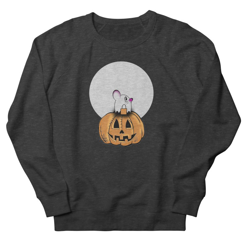 Halloween mouse in ghost costume. Women's French Terry Sweatshirt by Sporkshirts's tshirt gamer movie and design shop.