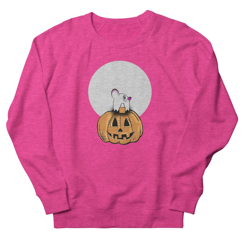 Halloween mouse in ghost costume. Women's French Terry Sweatshirt by Make a statement, laugh, enjoy.