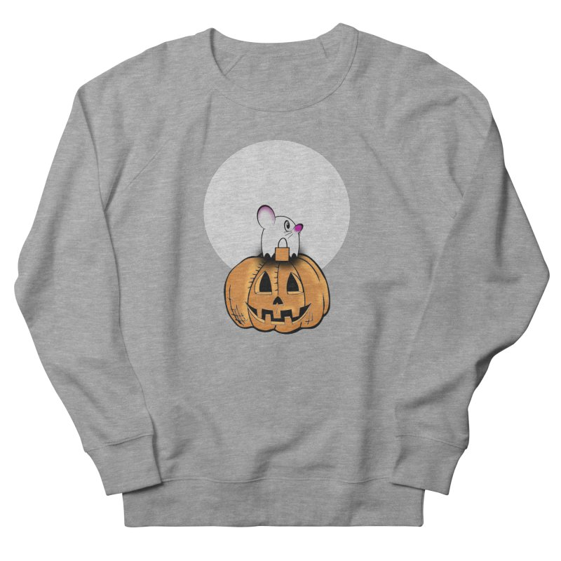 Halloween mouse in ghost costume. Men's French Terry Sweatshirt by Sporkshirts's tshirt gamer movie and design shop.