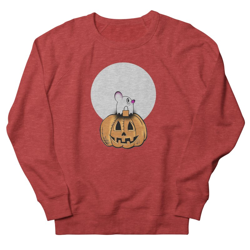 Halloween mouse in ghost costume. Men's French Terry Sweatshirt by Make a statement, laugh, enjoy.