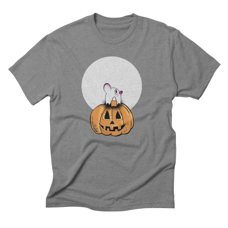 Halloween mouse in ghost costume. Men's Triblend T-Shirt by Make a statement, laugh, enjoy.