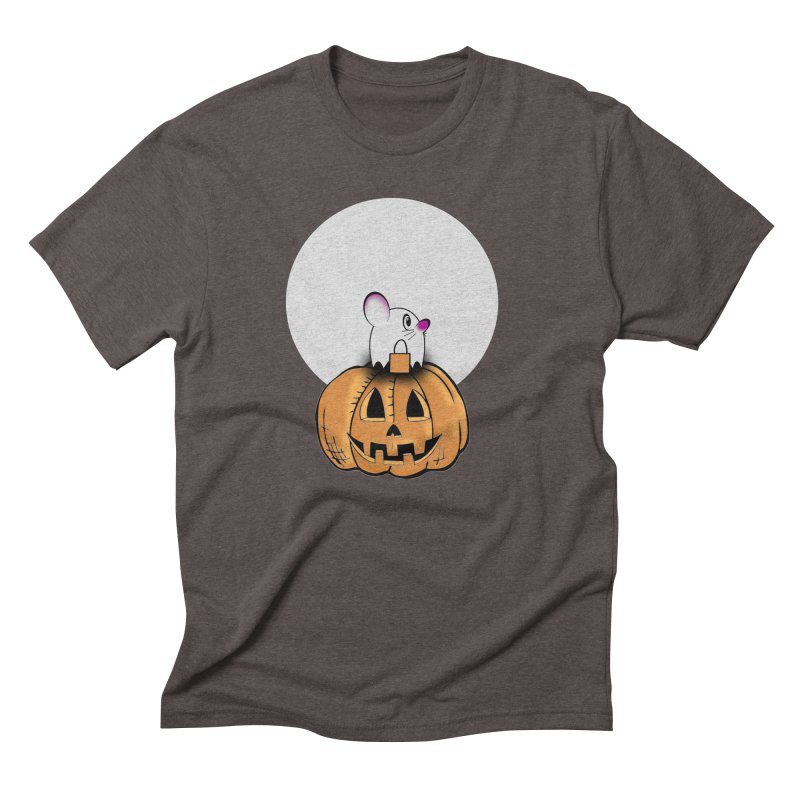 Halloween mouse in ghost costume. Men's Triblend T-Shirt by Sporkshirts's tshirt gamer movie and design shop.