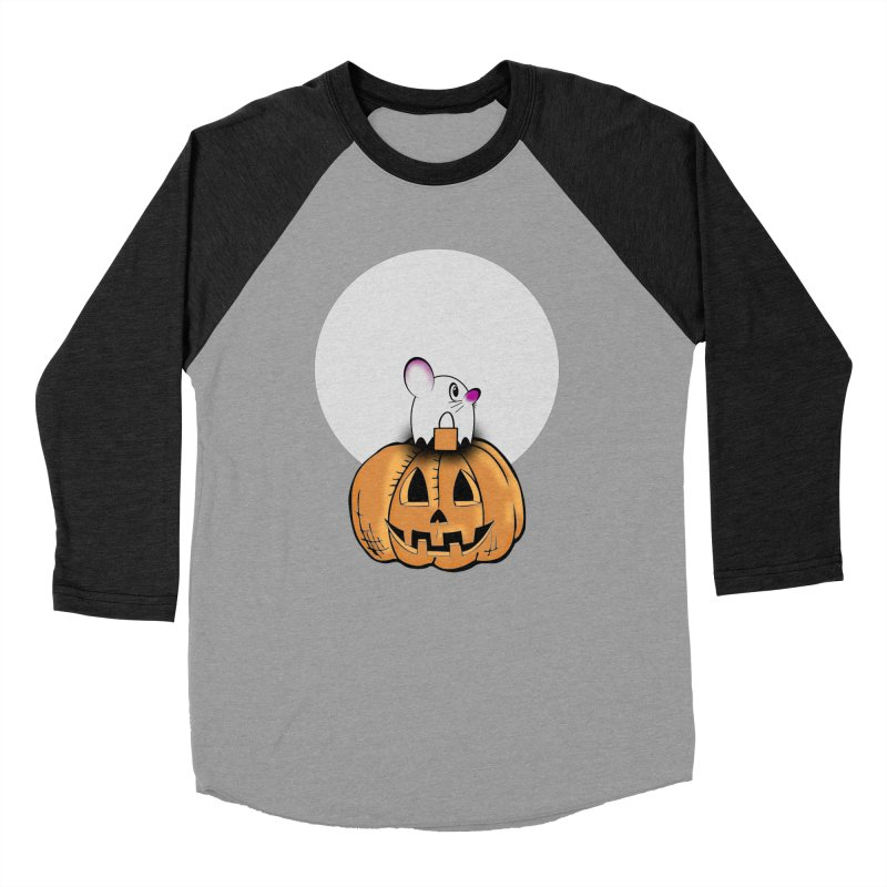 Halloween mouse in ghost costume. Women's Baseball Triblend Longsleeve T-Shirt by Make a statement, laugh, enjoy.