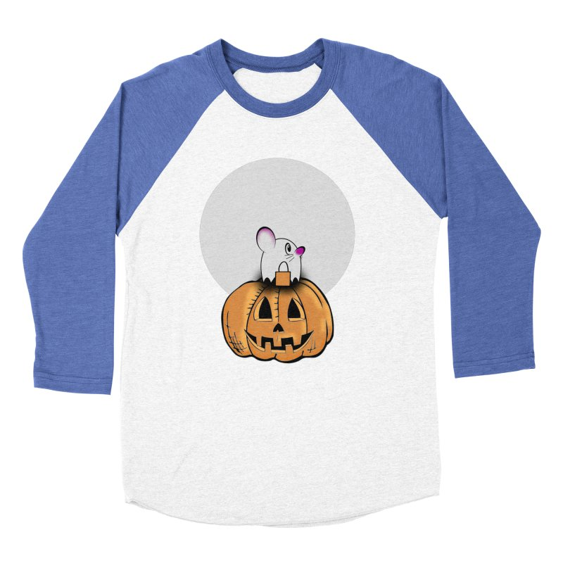 Halloween mouse in ghost costume. Men's Baseball Triblend Longsleeve T-Shirt by Make a statement, laugh, enjoy.