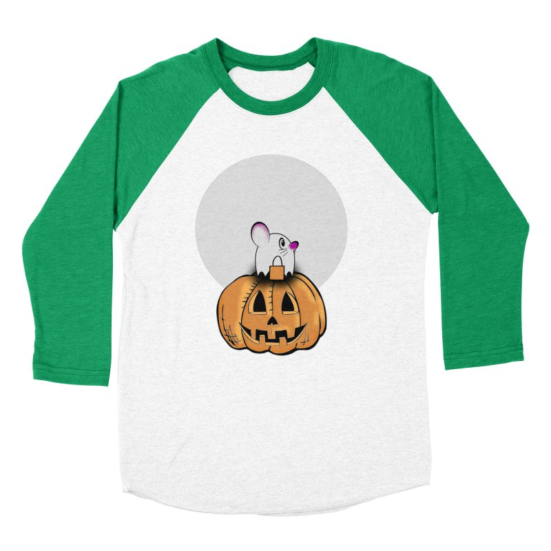 Halloween mouse in ghost costume. Men's Baseball Triblend Longsleeve T-Shirt by Sporkshirts's tshirt gamer movie and design shop.