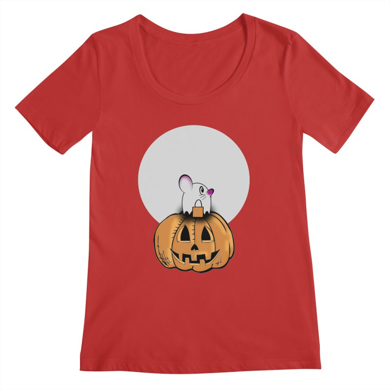Halloween mouse in ghost costume. Women's Regular Scoop Neck by Make a statement, laugh, enjoy.