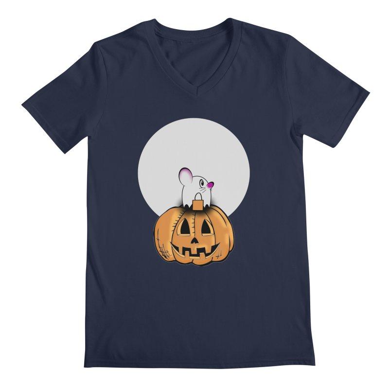 Halloween mouse in ghost costume. Men's Regular V-Neck by Sporkshirts's tshirt gamer movie and design shop.