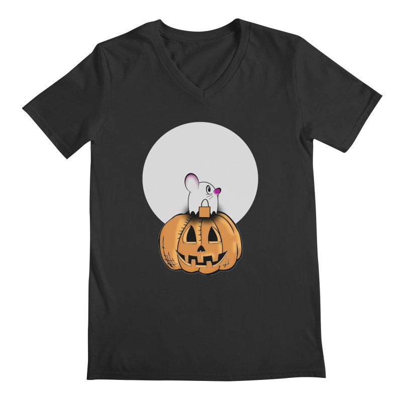 Halloween mouse in ghost costume. Men's Regular V-Neck by Make a statement, laugh, enjoy.