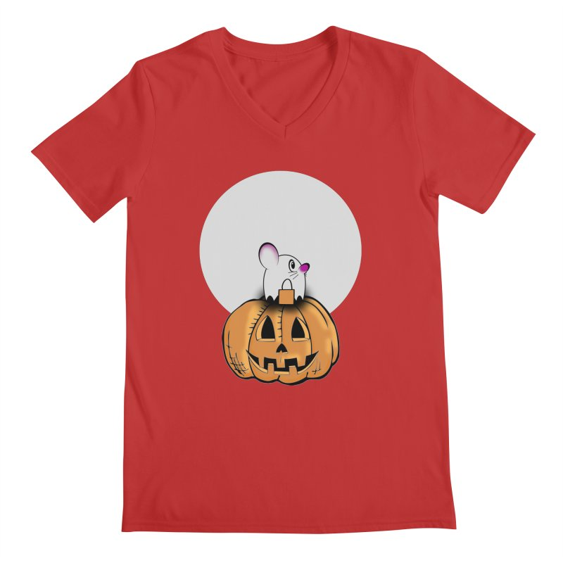 Halloween mouse in ghost costume. Men's V-Neck by Make a statement, laugh, enjoy.