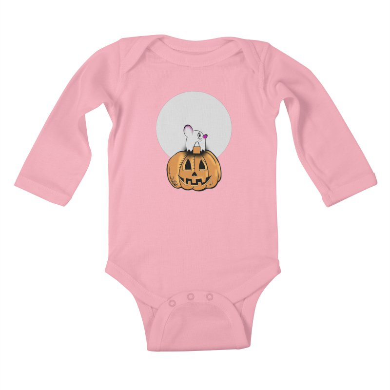 Halloween mouse in ghost costume. Kids Baby Longsleeve Bodysuit by Make a statement, laugh, enjoy.