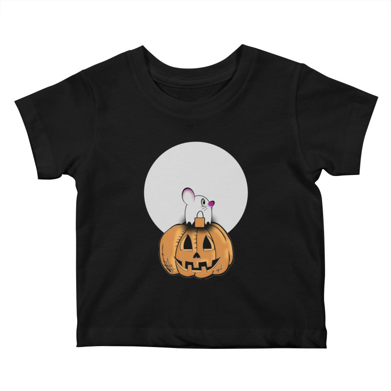 Halloween mouse in ghost costume. Kids Baby T-Shirt by Make a statement, laugh, enjoy.