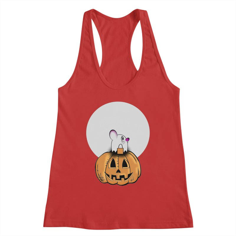Halloween mouse in ghost costume. Women's Racerback Tank by Make a statement, laugh, enjoy.