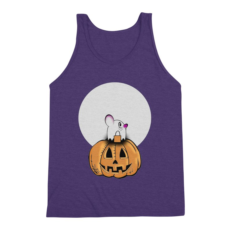 Halloween mouse in ghost costume. Men's Tank by Make a statement, laugh, enjoy.