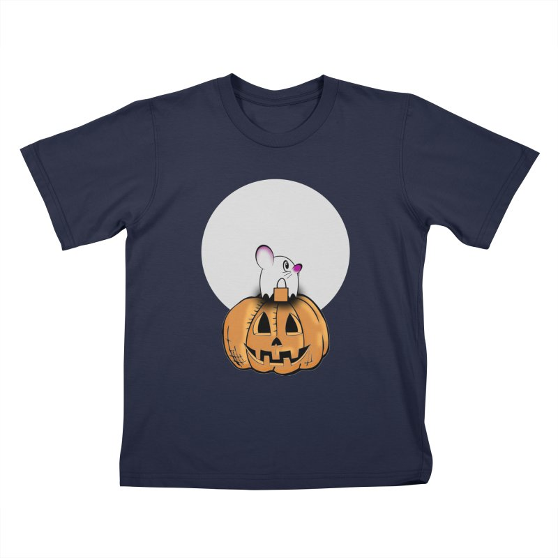 Halloween mouse in ghost costume. Kids T-Shirt by Make a statement, laugh, enjoy.