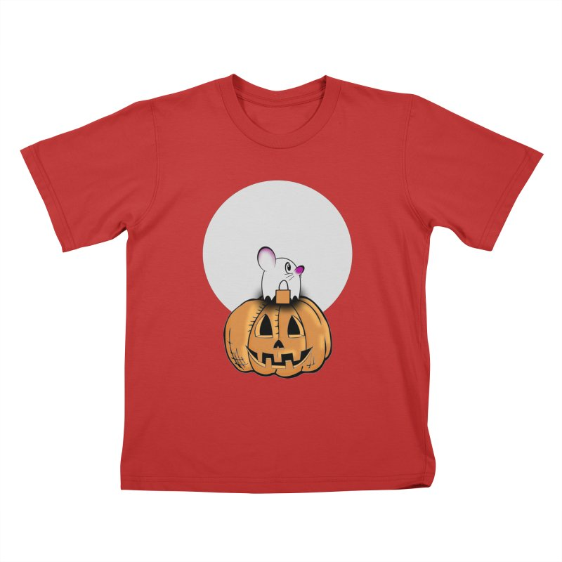 Halloween mouse in ghost costume. Kids T-Shirt by Sporkshirts's tshirt gamer movie and design shop.