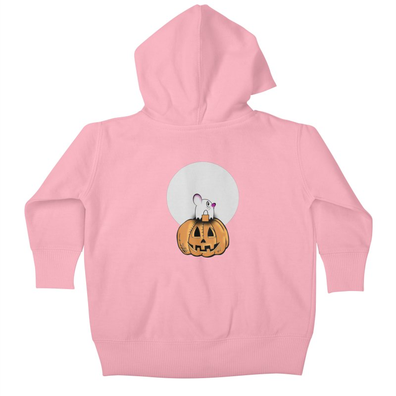 Halloween mouse in ghost costume. Kids Baby Zip-Up Hoody by Make a statement, laugh, enjoy.