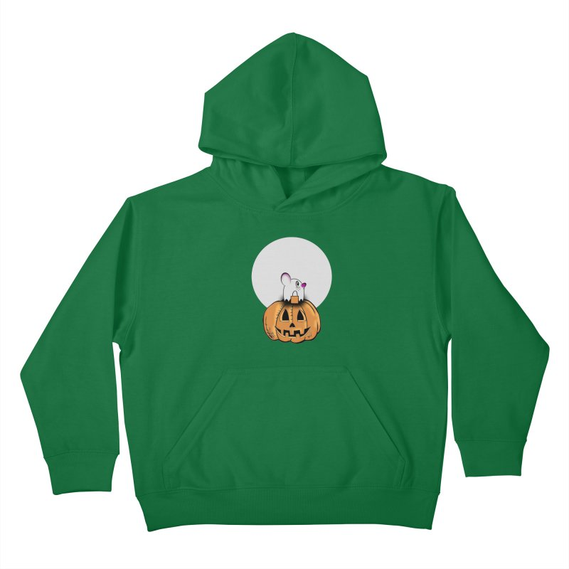 Halloween mouse in ghost costume. Kids Pullover Hoody by Make a statement, laugh, enjoy.