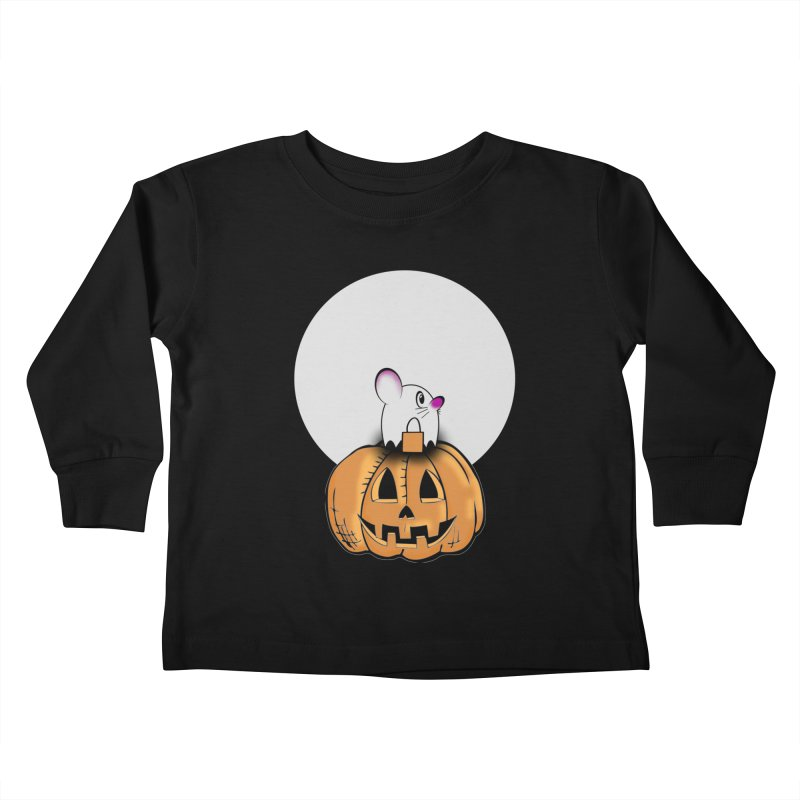Halloween mouse in ghost costume. Kids Toddler Longsleeve T-Shirt by Make a statement, laugh, enjoy.