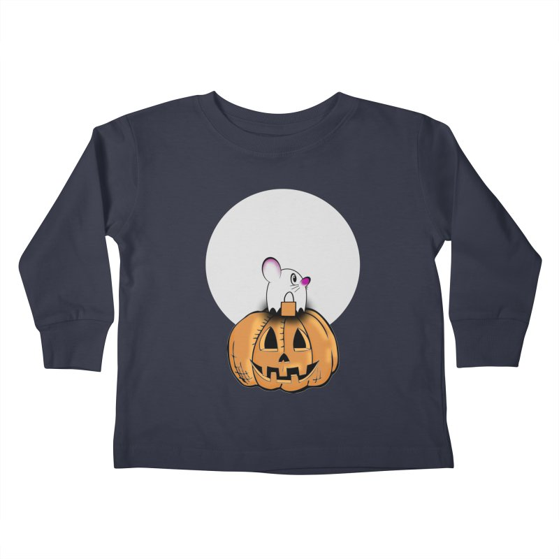 Halloween mouse in ghost costume. Kids Toddler Longsleeve T-Shirt by Sporkshirts's tshirt gamer movie and design shop.