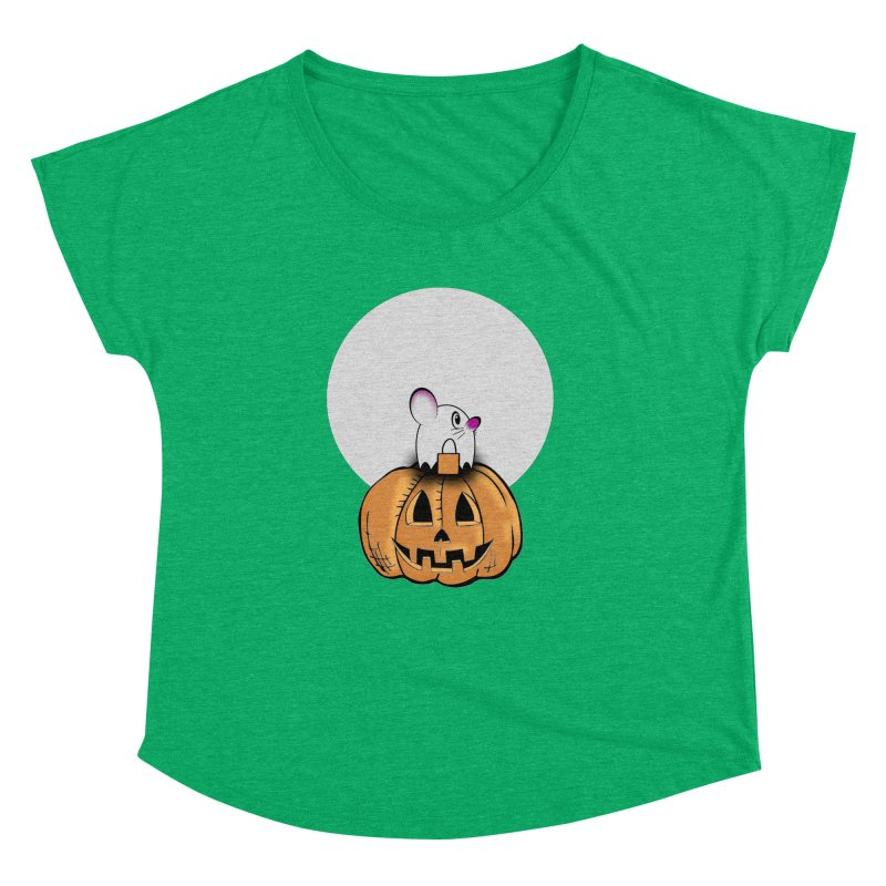 Halloween mouse in ghost costume. Women's Dolman Scoop Neck by Sporkshirts's tshirt gamer movie and design shop.