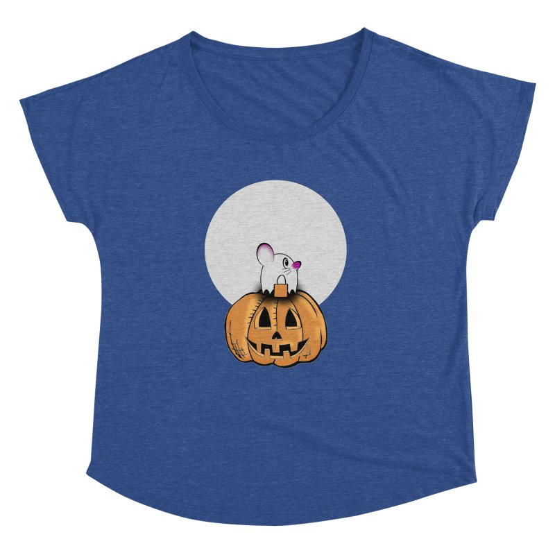 Halloween mouse in ghost costume. Women's Dolman Scoop Neck by Make a statement, laugh, enjoy.