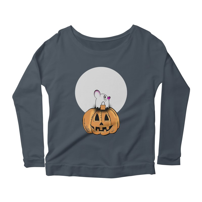 Halloween mouse in ghost costume. Women's Scoop Neck Longsleeve T-Shirt by Make a statement, laugh, enjoy.
