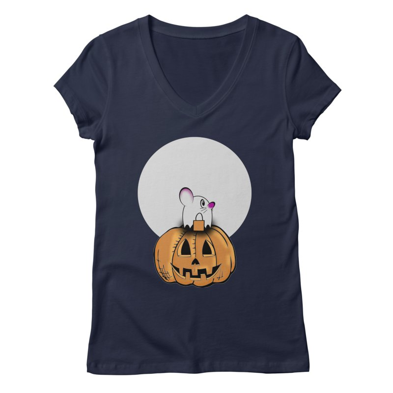 Halloween mouse in ghost costume. Women's Regular V-Neck by Make a statement, laugh, enjoy.