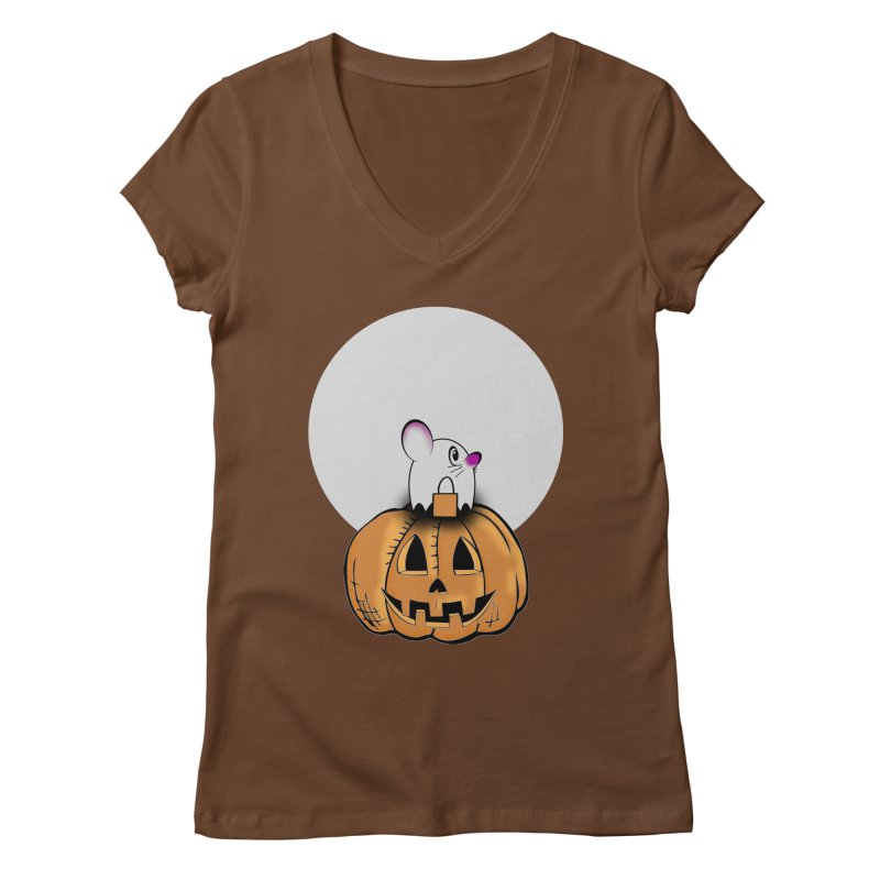 Halloween mouse in ghost costume. Women's Regular V-Neck by Sporkshirts's tshirt gamer movie and design shop.