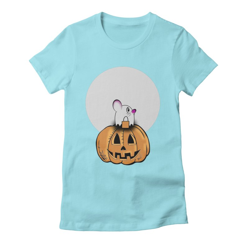 Halloween mouse in ghost costume. Women's Fitted T-Shirt by Make a statement, laugh, enjoy.