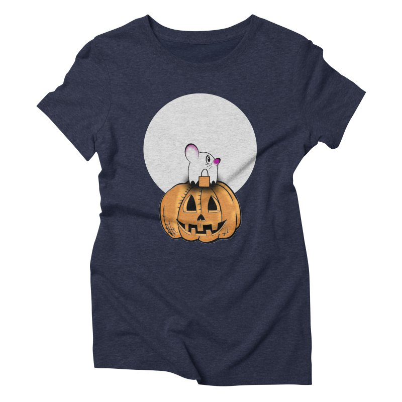 Halloween mouse in ghost costume. Women's Triblend T-Shirt by Make a statement, laugh, enjoy.