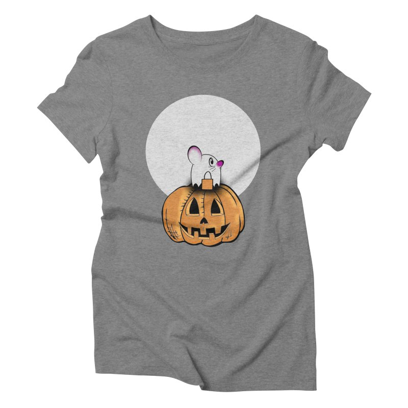 Halloween mouse in ghost costume. Women's Triblend T-Shirt by Sporkshirts's tshirt gamer movie and design shop.