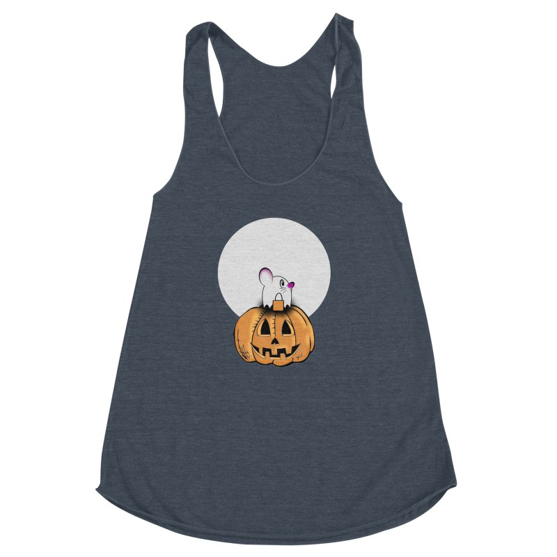 Halloween mouse in ghost costume. Women's Racerback Triblend Tank by Make a statement, laugh, enjoy.