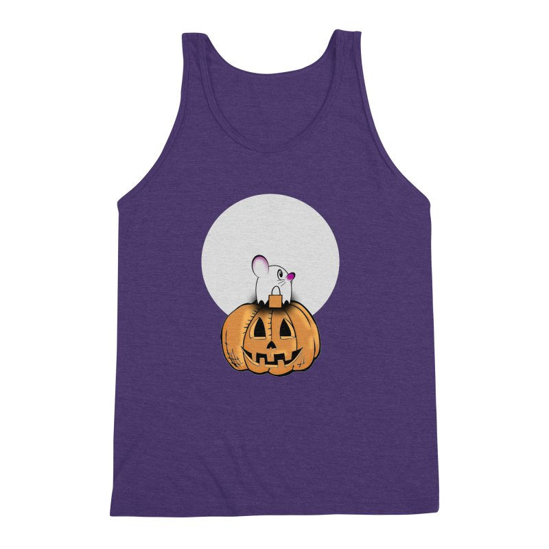 Halloween mouse in ghost costume. Men's Triblend Tank by Make a statement, laugh, enjoy.
